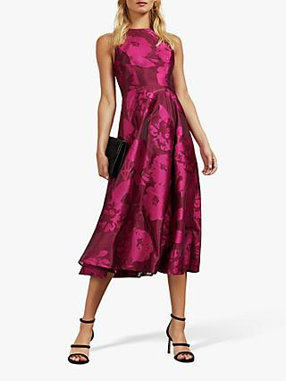Ted Baker Wylieh Floral Jacquard Midi Dress, Dark Pink