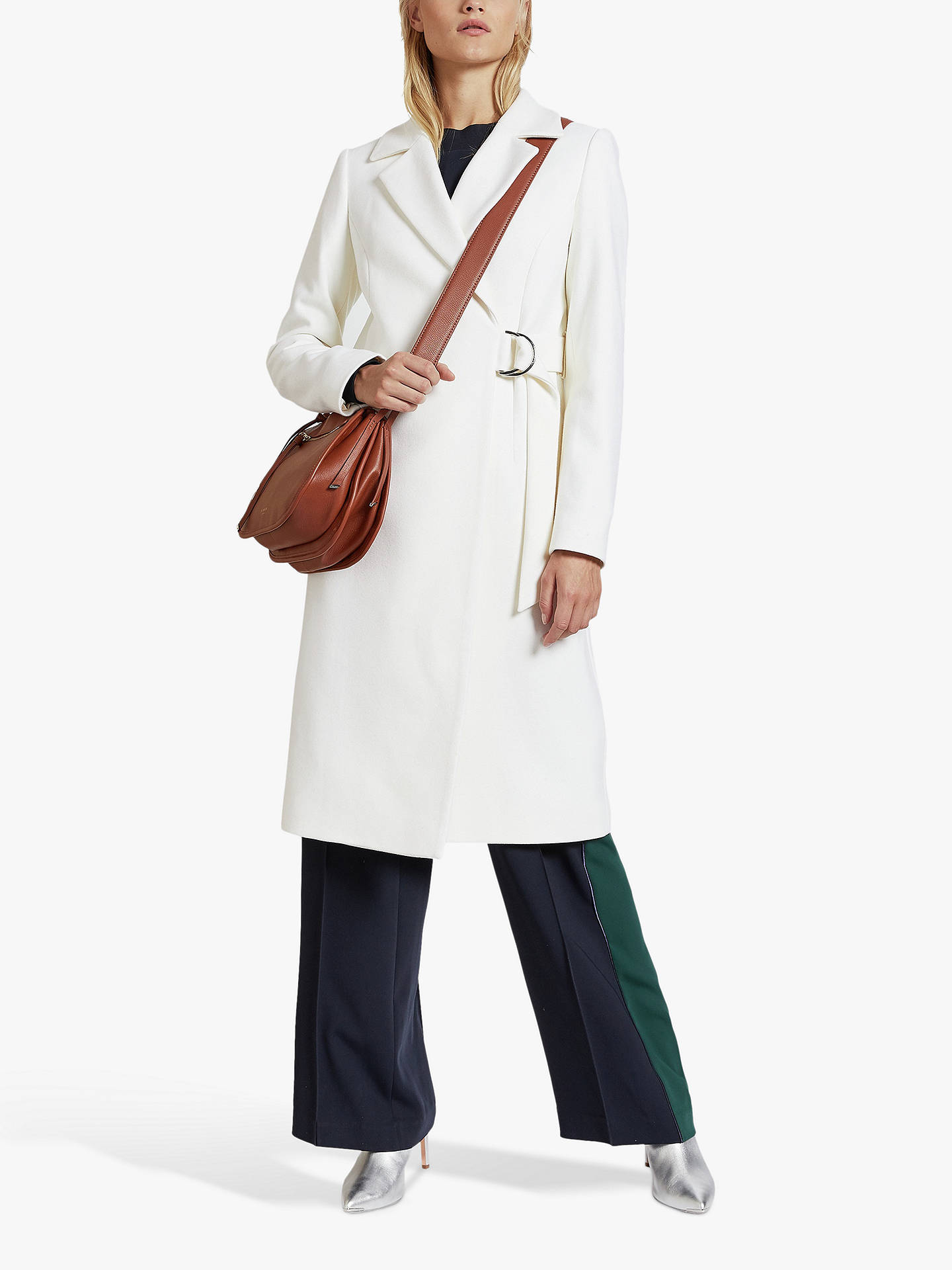 Buy Ted Baker Dezpina Wool Blend Belted Wrap Coat, Natural Ivory, XXS Online at johnlewis.com