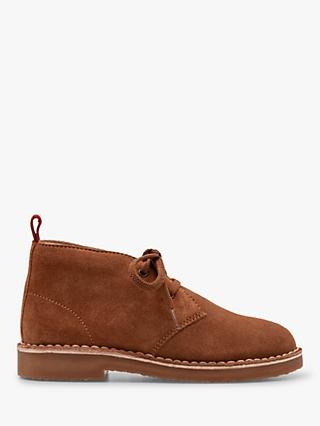 Mini Boden Lace-Up Suede Desert Boots, Tan