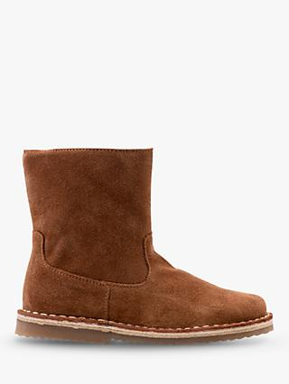 Mini Boden Short Suede Floral Boots, Tan