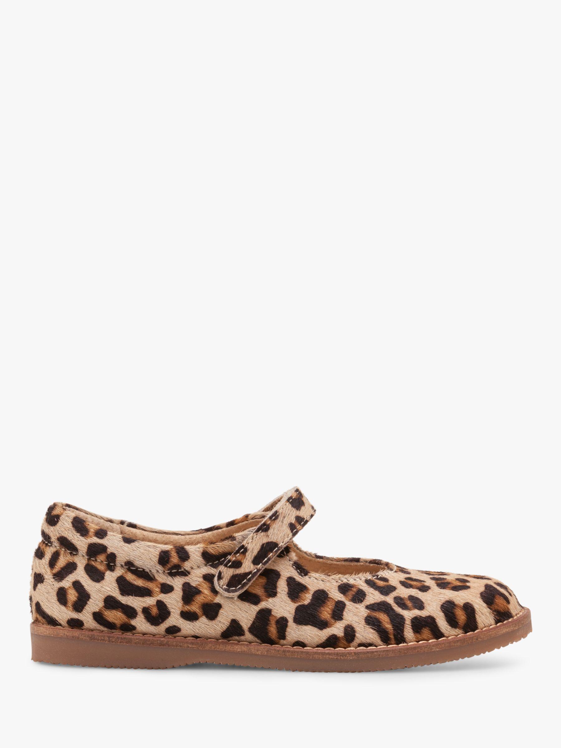 Mini Boden Mini Boden Leather Leopard Print Mary Jane Shoes, Tan