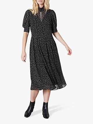Finery Spencer Puffed Sleeve Dress, Black/White