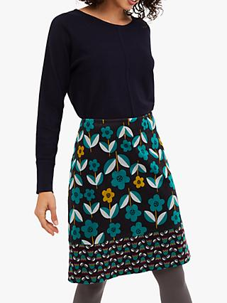 White Stuff Flower Patch Cord Skirt, Multi