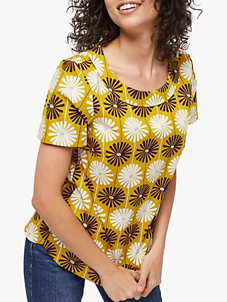 White Stuff Dhalia Floral Cowl Neck Top, Sunny Chartreuse