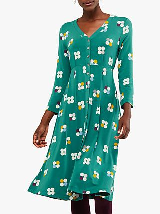 White Stuff Elm Jersey Dress, Graphic Green