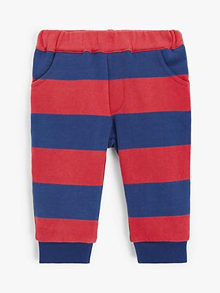 John Lewis & Partners Baby Stripe Joggers, Red/Navy