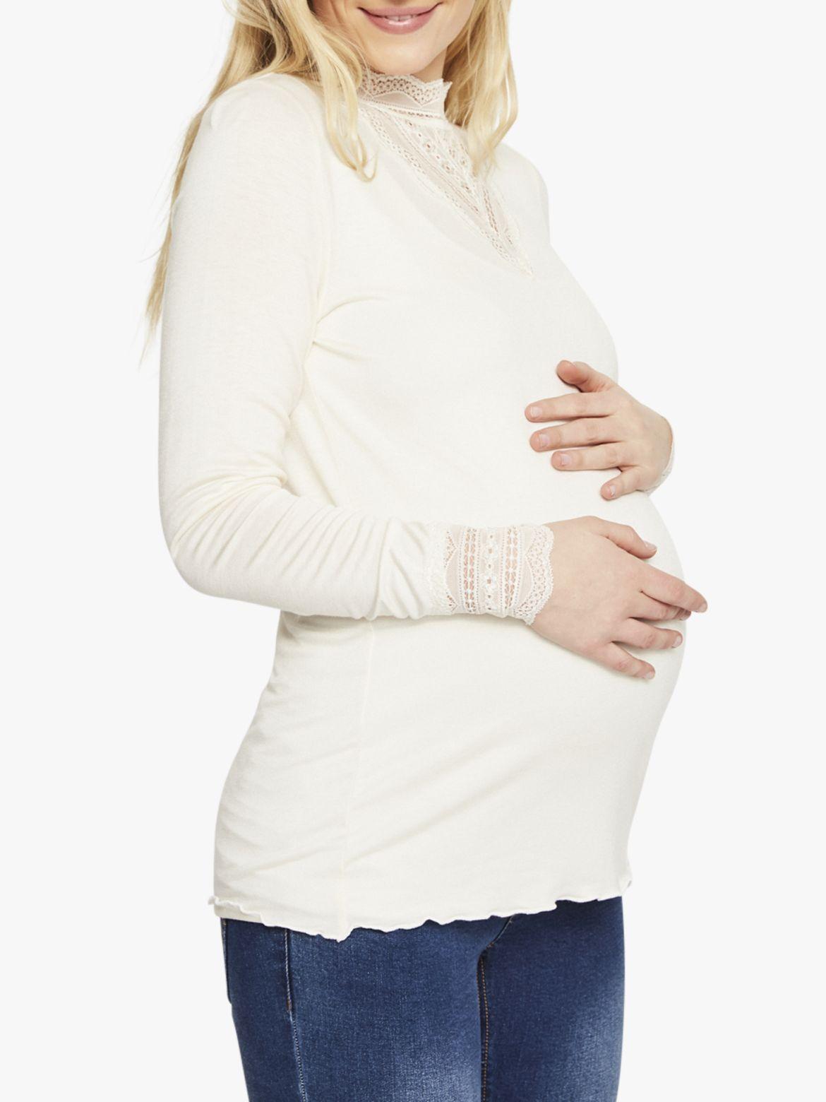 Mamalicious Mamalicious Reese Long Sleeve Jersey Top, Whisper White