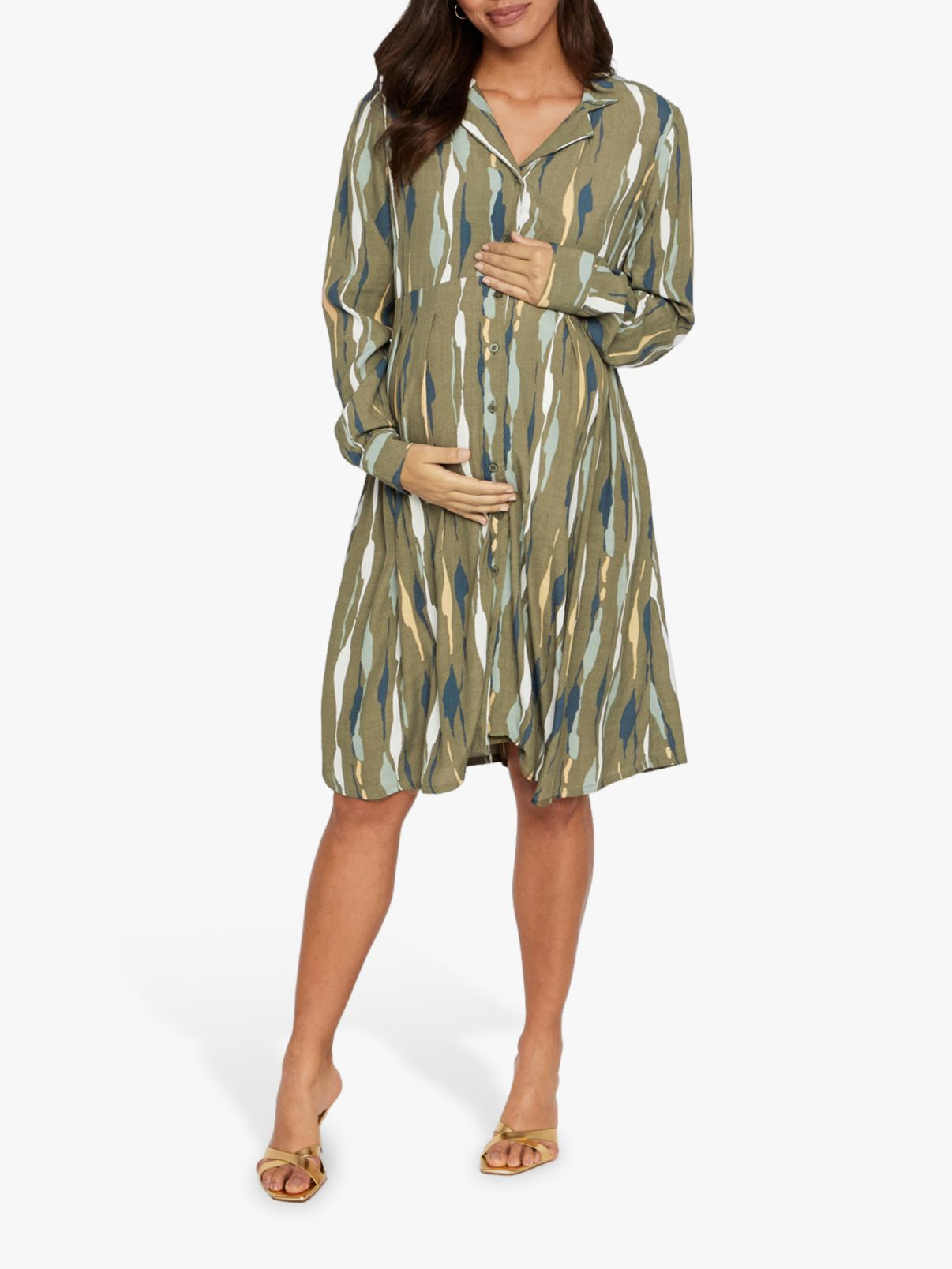 Mamalicious Mamalicious Dana Abstract Long Sleeve Woven Maternity Dress, Multi