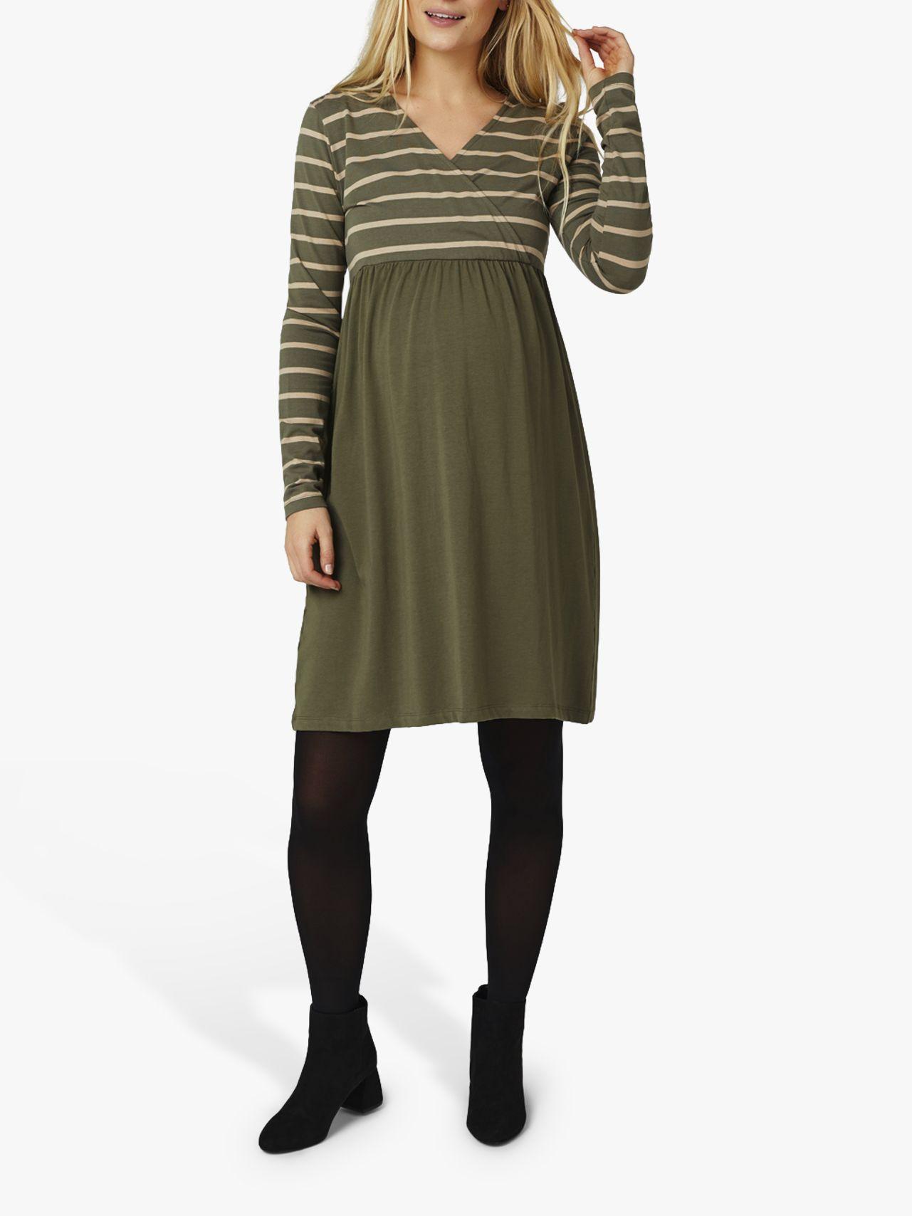Mamalicious Mamalicious Madelleine Tess Stripe Jersey Maternity Dress, Dusty Olive