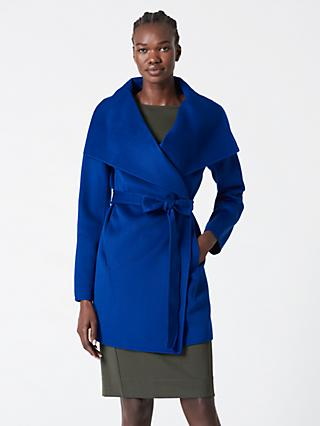 Winser London Lauren Wrap Wool Blend Short Coat, Blue