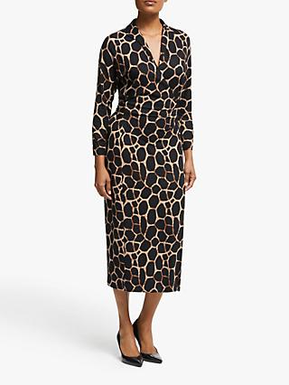 Winser London Animal Print Wrap Dress, Giraffe