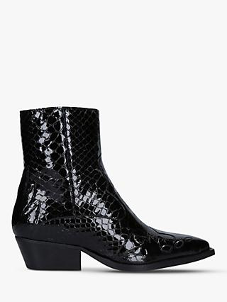 Kurt Geiger London Delta Patent Western Style Ankle Boots
