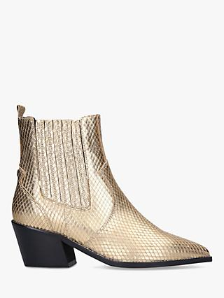 Carvela Stella Leather Western Style Ankle Boots, Gold