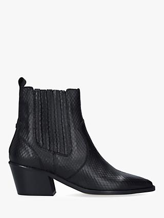 Carvela Stella Leather Western Style Ankle Boots, Black
