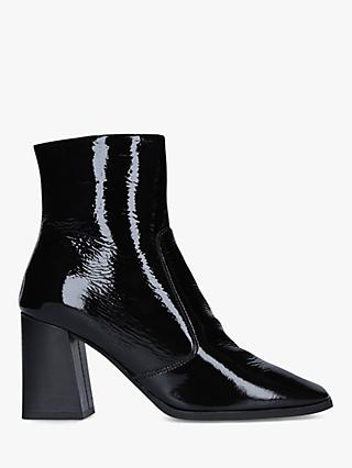 Carvela Softly Patent Square Toe Ankle Boots, Black