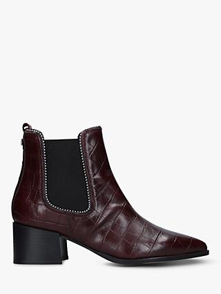 Carvela Spire Block Heel Studded Leather Ankle Boots, Red