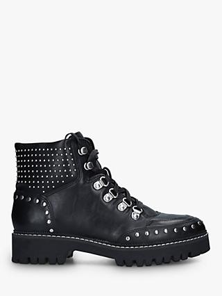 Carvela Toughest Leather Studded Hiker Boots, Black