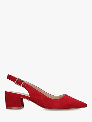 Carvela Aspire Suede Slingback Court Shoes, Bright Red