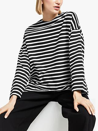 Kin Elliptical Hem Breton Stripe Top, Black/Multi
