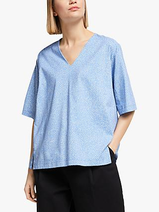 Kin Doshida Print V-Neck Oversized T-Shirt, Blue
