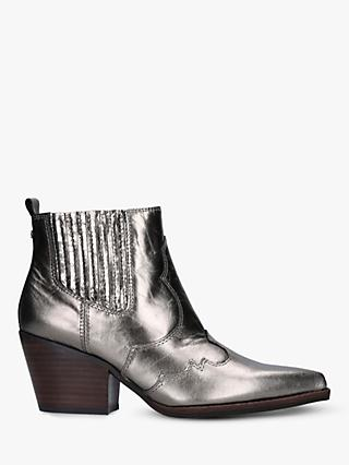Sam Edelman Winona Block Heel Leather Cowboy Boots, Metallic