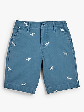 Buy John Lewis & Partners Boys' Embroidered Dinosaur Shorts, Blue, 3 years Online at johnlewis.com