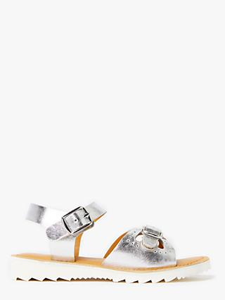 John Lewis & Partners Children's Metallic Buckle Sandals, Silver