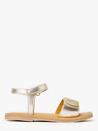 John Lewis & Partners Children's Beaded Sandals, Gold