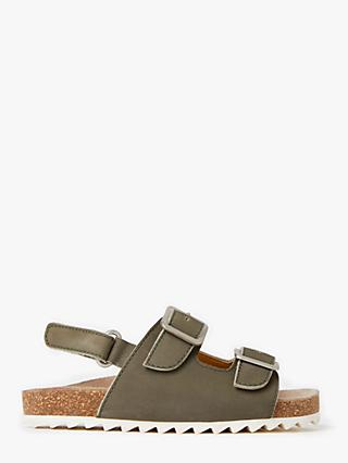 John Lewis & Partners Children's Cross Over Footbed Sandals, Khaki