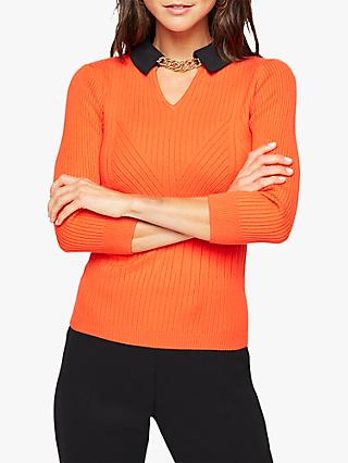 Damsel in a Dress Remey Collar Chain Detail Jumper, Orange