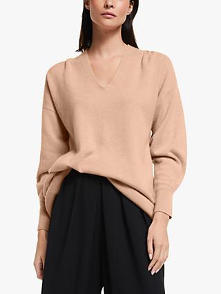 Modern Rarity Pleat Sleeve Cashmere Jumper, Natural