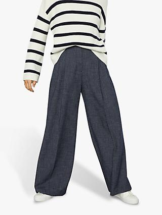 Jigsaw Crosshatch Palazzo Trousers, Blue