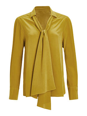 Buy Modern Rarity Silk Scarf Neck Blouse, Yellow, 8 Online at johnlewis.com