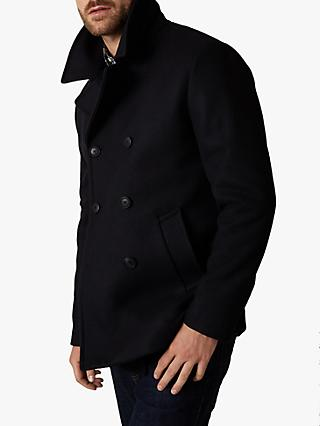 Jaeger Quilted Pea Coat, Navy