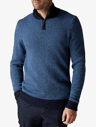 Jaeger Wool and Cashmere Zip Through Jumper, Blue