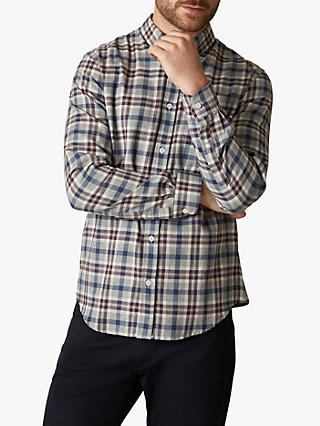 Jaeger Brushed Cotton Check Flannel Shirt, Grey