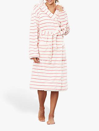 Joules Rita Stripe Fleece Dressing Gown, Pink/Multi
