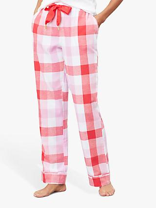 Joules Snooze Gingham Pyjama Bottoms, Red