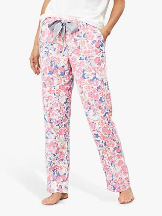 Joules Snooze Floral Print Pyjama Bottoms, Cream/Multi