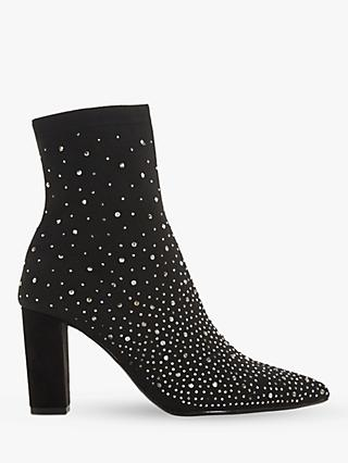 Dune Opaal Diamante Block Heel Ankle Boots, Black
