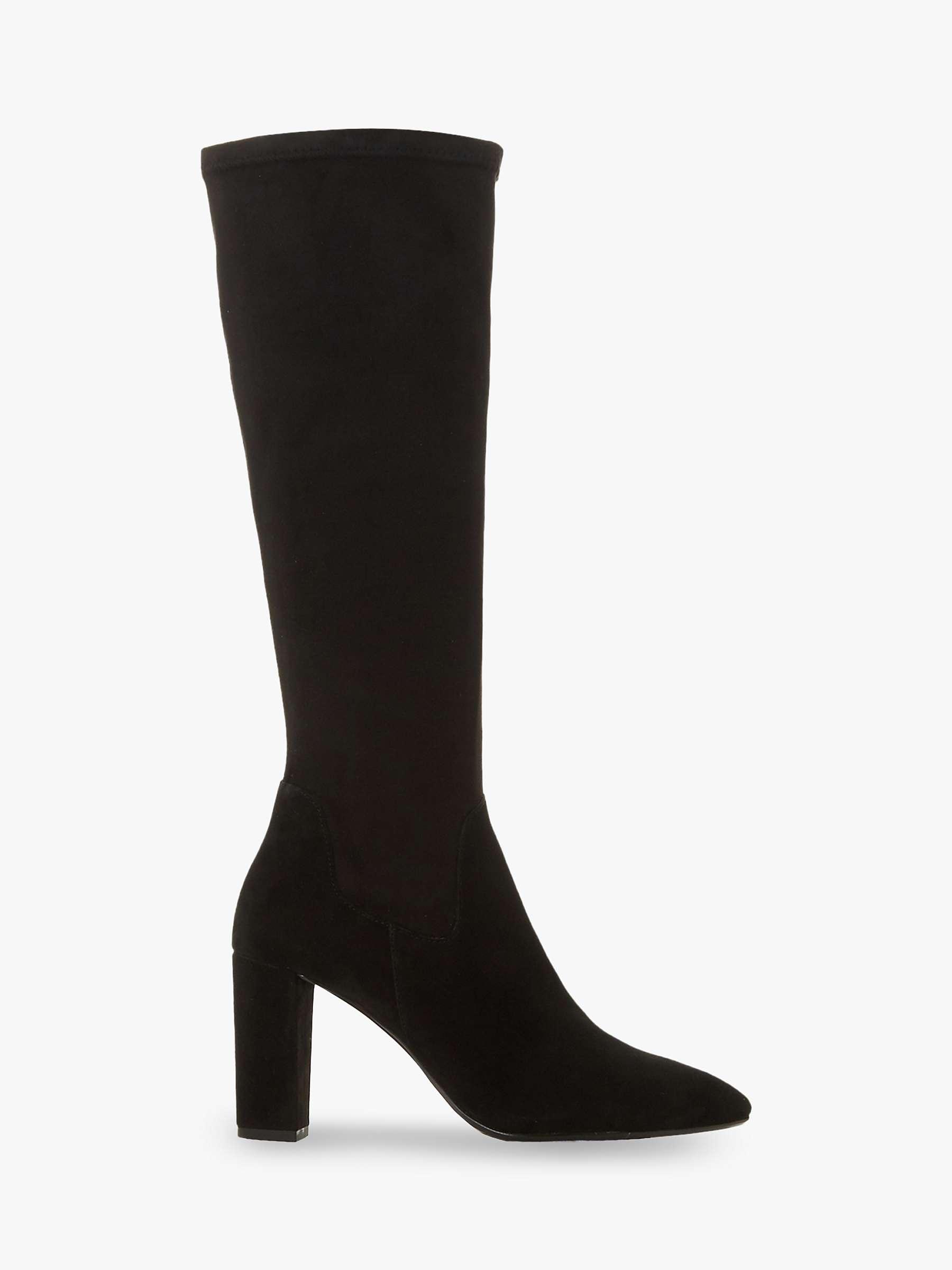 Dune Siren Stretch Block Heel Almond Toe Boots, Black by Dune