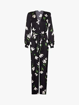 Ghost Poppy Floral Satin Jumpsuit, Paper Flowers