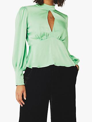 Ghost Mila Satin Open Back Peplum Blouse, Soft Green