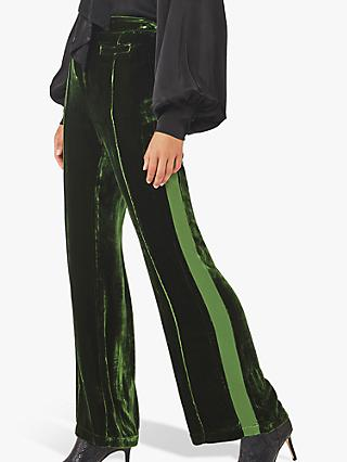 Ghost Emily Stripe Velvet Flared Trousers, Forest Green
