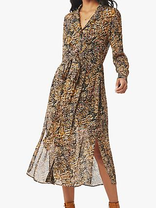 Ghost Eloise Snake Print Midi Dress, Brown