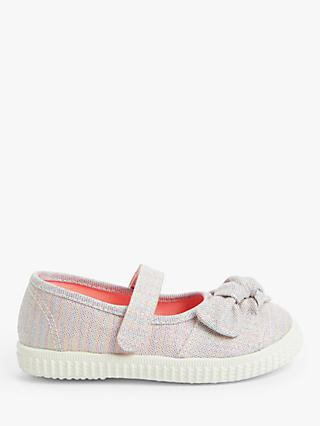 John Lewis & Partners Children's Shimmer Mary Jane Shoes, Silver