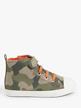 John Lewis & Partners Children's Camouflage High Top Trainers, Green