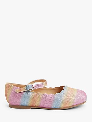John Lewis & Partners Children's Rainbow Scallop Ballet Pumps, Multi