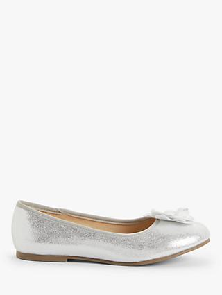 John Lewis & Partners Children's Flower Ballet Pumps, Silver