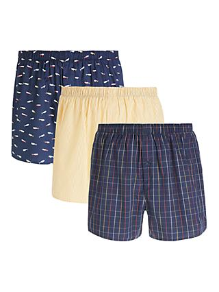 John Lewis & Partners Whale Organic Cotton Boxers, Pack of 3, Multi